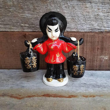 Vintage Salt And Pepper Shakers , Japanese Lady Carrying Buckets , Made In Japan , Kitchen Decor