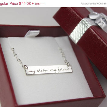 Bar Necklace, Monogram, Name Bar Sterling Customizable, Engravable Personalized Jewelry, Bridesmaid's Gift, Gold or Silver
