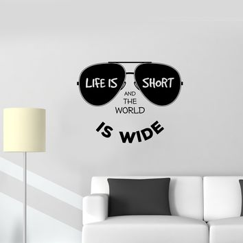 Wall Vinyl Sticker Decal Sunglasses Lifestyle Inscription Positive World Unique Gift (ed540)