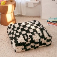 Checker Shag Floor Pillow | Urban Outfitters