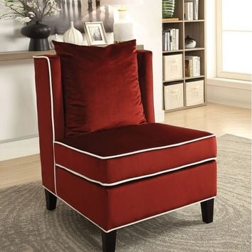 Acme 59572 Ozella red velvet fabric armless accent chair