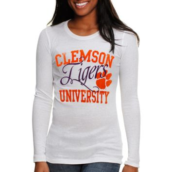 Clemson Tigers Ladies Script Thermal Long Sleeve T-Shirt - White