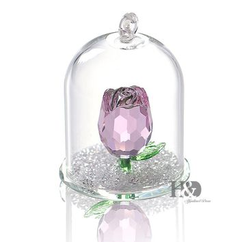 Beauty Crystal Enchanted Rose in Terrarium Pendant Valentines Day,Fairy Tale Crystal Souvenir Gifts Home Decoration Lover's gift