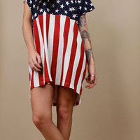 1990s vtg Oversized AMERICAN FLAG Hi Low Mini Dress Tunic / Womens T Shirt Top Blouse / One Size Fits Most / Grunge Club Kid