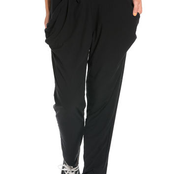 Black Cozy Harem Jogger Pants