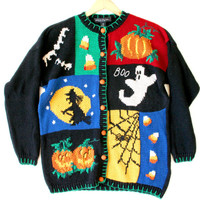 Witch Ghost & Candy Corn Ugly Halloween Sweater - The Ugly Sweater Shop