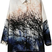 Multi Oasap Loose Lifelike Scenery Button-up Shirt Top 76% off retail