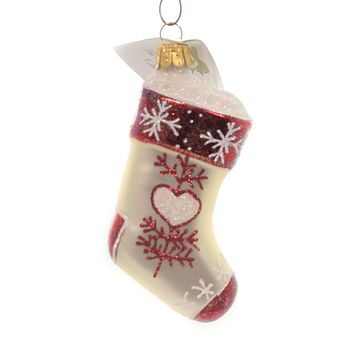 Golden Bell Collection STOCKING WITH HEART Glass Christmas Ornament Nvv102 Red