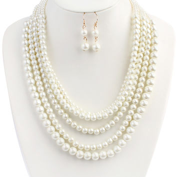 Classic Pearl Layer Necklace Set
