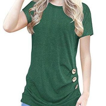 Lisik Womens Short Sleeve ONeck Casual Button Side Loose Shirts Tunics Tops Blouse
