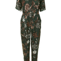 Floral Thistle Print Boilersuit - Forest