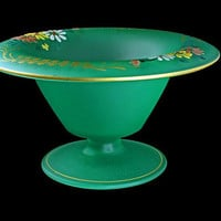 Green Satin Pedestal Compote, Hand Painted, Daisy Pattern, Floral Design, Centerpiece