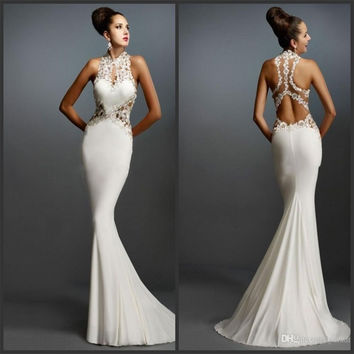 White Mermaid  Prom Dresses Halter Sleeveless Applique Elegant Evening Gowns Hole Back Formal Long Prom Dress