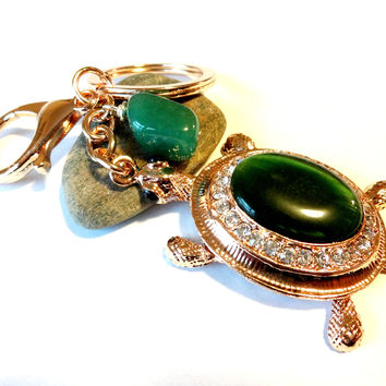 Green Sea Turtle Keychain With Wire Wrapped Aventurine Gemstone