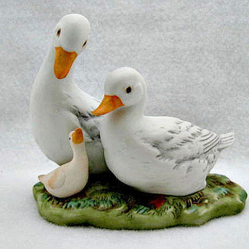Vintage Porcelain Figurine  Duck Family by vintagejunque on Etsy