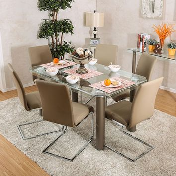 7 pc Walkerville I collection contemporary style champagne finish wood chrome trim base with curved edge glass top dining table set