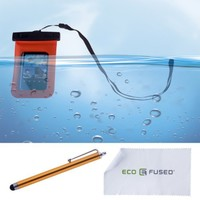 Eco-Fused Premium Waterproof Case with IPX8 Certificate for iPhone 5S, 5, 4G, 4 3, iPod Touch 3, 4, 5; Samsung Galaxy S5 Mini, S4 Mini, S3 Mini - Stylus and Cleaning Cloth Included