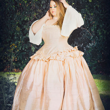 Cinderella Wedding Dress Fantasy Fairytale Gown in Silk- Custom to your size