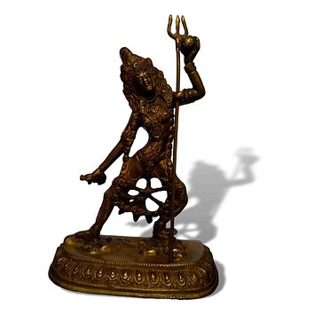 Hindu Goddess Kali Statue Figurine Sculpture Antique Brass Finish Home Decor 7 Inches High