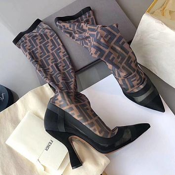 Fendi Black stitching coffee FF letter mesh high heel and high tube boots