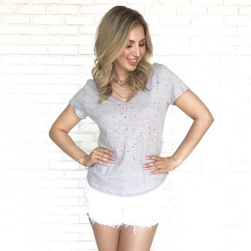 Hole In One Short Sleeve Top In Grey