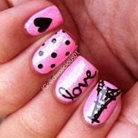 10 pcs False Nails - Pink Paris Love Nail Art