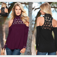 Turtleneck Cut Out Lace Off Shoulder T-Shirt