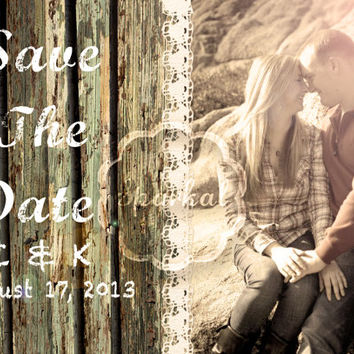 Handmade Rustic Save the Date Wood Lace Printable Save the Date 5x7 Digital DIY Save the Date Wedding Card no.1