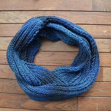 MADE TO ORDER Blue Knit Scarf, Ombré Blue Scarf, Knitted Scarf, Infinity Scarf, Circle Scarf, Blue Snood, Blue Knit Cowl, Multicolored Scarf