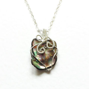 Wire wrapped Pendant, Abalone Paua Shell, Mother of Pearl, Pendant Silver plated non tarnish wire OOAK