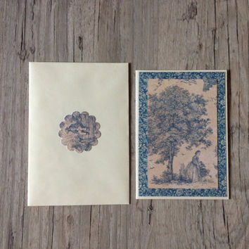 Crafted greeting card vintage style - handmade post card - rustic grey blue - vintage drawing - scrapbooking summer - europeanstreetteam