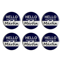 Martin Hello My Name Is Plastic Resin Button Set of 6