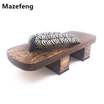 Mazefeng Clogs&geta Chinese Summer Slippers Male Slippers Flip Flops platform shoes Woods Clogs&geta Striped Women Clogs geta