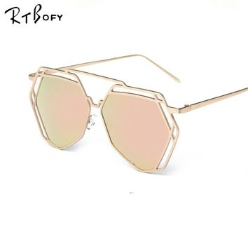 RTBOFY 2017 New Women 5 Colour Luxury Cat Eye Sunglasses Women Sunglasses Double-Deck Alloy Frame UV400 Sexy Sun Glasses