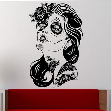 Day of the Dead Girl ROSES Wall Decal Vinyl Sticker Art Decor Bedroom Design Mural interior design sugar skull living room tattoo roses