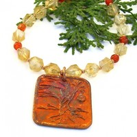 Tree of Life Yggdrasil Copper Pendant Necklace, Star Cut Citrine Carnelian Handmade Jewelry