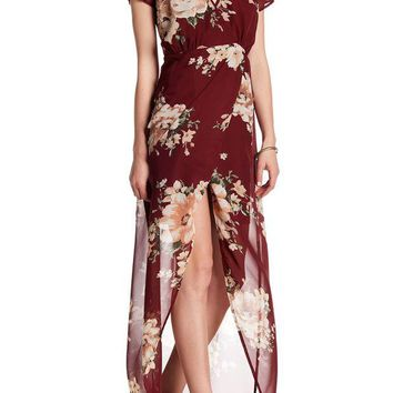 DCCKHB3 JUST FOR WRAPS | Short Sleeve Floral Mock Wrap Dress