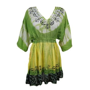 Mogul Womens Tie Dye Coverup Dress Floral Embroidered Rayon Hippy Chic Beach Cover Up - Walmart.com