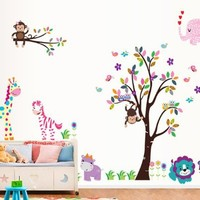 Toprate(TM) Animal Paradise Zoo Giraffe Monkey Tree DIY Removable Wall Decal for Living Room Nursery Baby Children's Room Vinyl Wall Sticker Art Home Decoration:Amazon:Arts, Crafts & Sewing