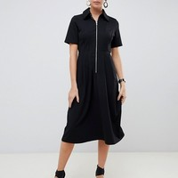 ASOS DESIGN midi shirt dress with exposed zip | ASOS
