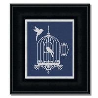 Birdcage silhouette - PDF Cross Stitch Pattern - INSTANT DOWNLOAD