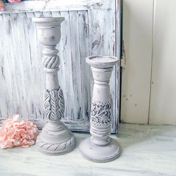 Tall Gray Candleholders, Light Gray Farmhouse Pillar Candlestick Holders, Ornate Wooden Candleholders, Shabby Chic Mantle Decor, Paris Gray