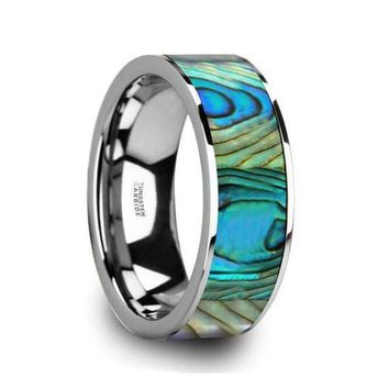 Men's Tungsten Wedding Band With Mother Of Pearl Inlay Polished Finish - 8mm