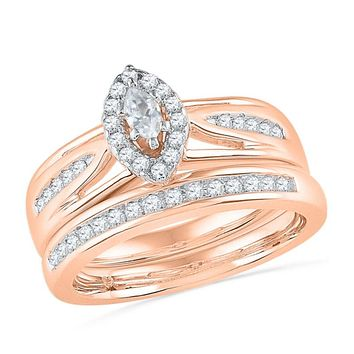 1/2 CT. T.W. Marquise Diamond Frame Bridal Engagement Ring Set in 14K Rose Gold