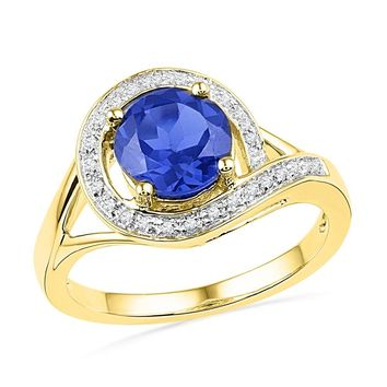 10kt Yellow Gold Womens Round Lab-Created Blue Sapphire Solitaire Diamond Ring 1-7/8 Cttw