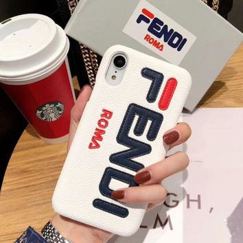 FENDI Leather Women Men Protective Cover Phone Case