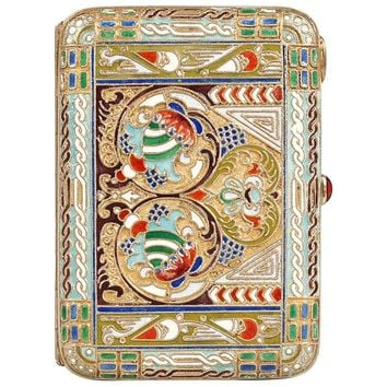 Antique Russian Revival Shaded Cloisonné Enamel Cigarette Case