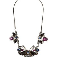 Multi Gemstone Cluster Bib Necklace by Charlotte Russe