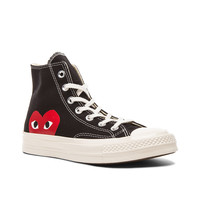 Comme Des Garcons PLAY Large Emblem High Top Canvas Sneakers in Black | FWRD