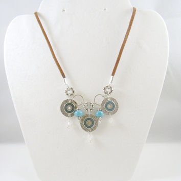 Suede Necklace with Silver and Turquoise, Fashion Jewelry